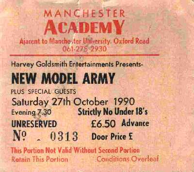 27 October 1990: New Model Army - Acadamy, Manchester